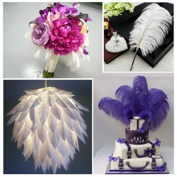 DLM2 14-16inch White black red pink blue yellow green purple rose Ostrich Feather Plumes for Wedding centerpiece table centerpiece z134D