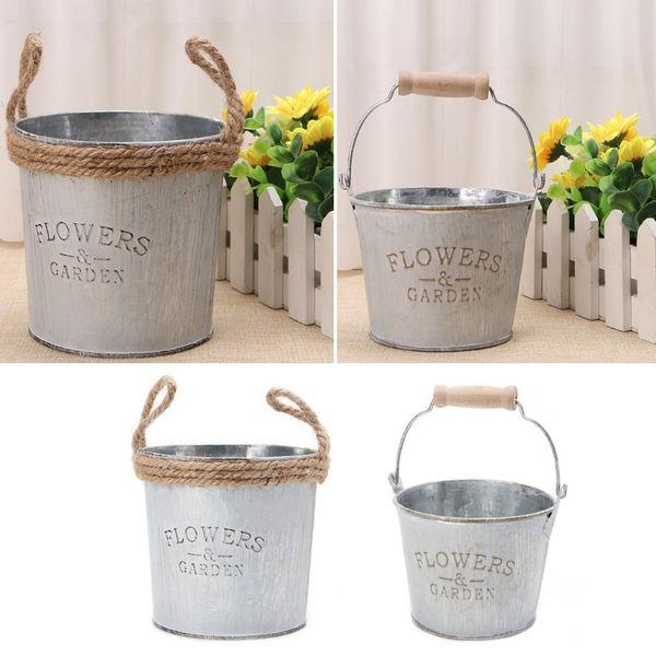 Vintage Galvanised Metal Iron Flower Garden Shabby Vase Pot Barrel Planter Decor Flower lanters