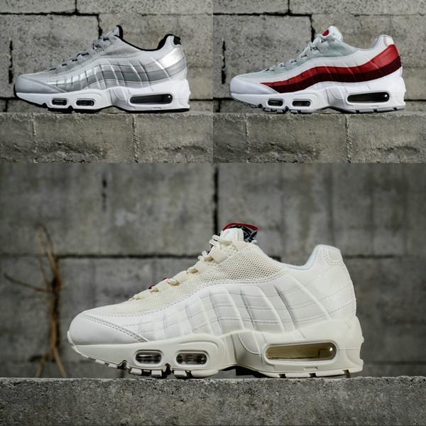 Nike air max Pas Cher Nouveautés 95 Chaussures de course Pour les hommes Pur blanc Noir Rouge argent TT Pack Multi Stripe 95 s Sport Sneakers Discount
