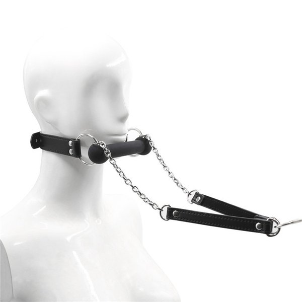 Fetish Cosplay Dog Bone Style Mouth Gag with Leash Stick Stopper BDSM Bondage Gear Slave Training Adult Sex Toys for Kinky Play