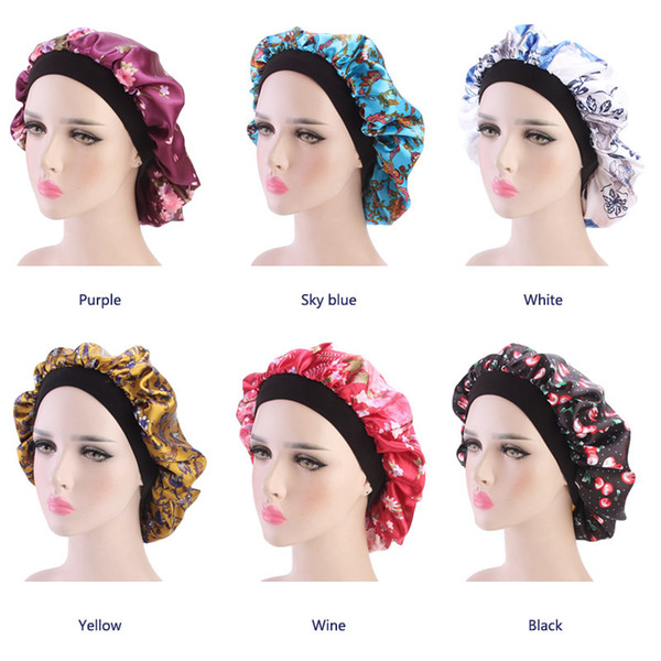 Muslim Women Strech Print Chemo Wide Band Satin Bonnet Hair Beanie Cap  Ladies Turban Night Sleep Hat Hair Loss Cancer Patients Accessories Trucker