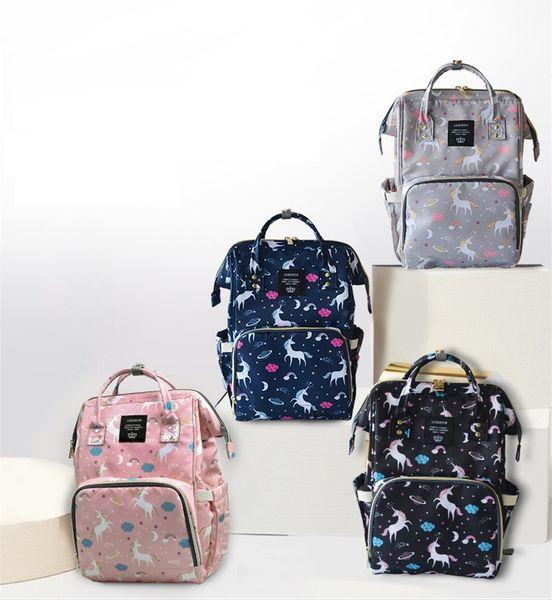 4 colores Unicornio Mami Mochilas Pañuelos Bolsas INS Pañal Bolsas Mochila Maternidad Gran Volumen Multifuncional Bolsa de viaje al aire libre