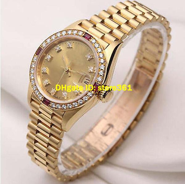 Relojes de pulsera de lujo de alta calidad RELOJ DE MUJER Lady WATCH 69068 Oro amarillo de 18 quilates Diamond 26MM