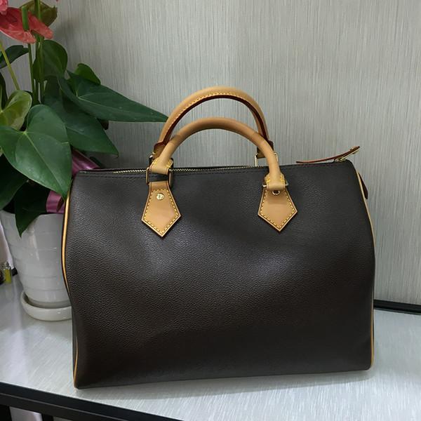 Marka yeni En kaliteli Lady Gerçek oxidizing Deri hızları 25 cm 30 cm 35 cm çanta omuz askısı çanta tote çanta ile