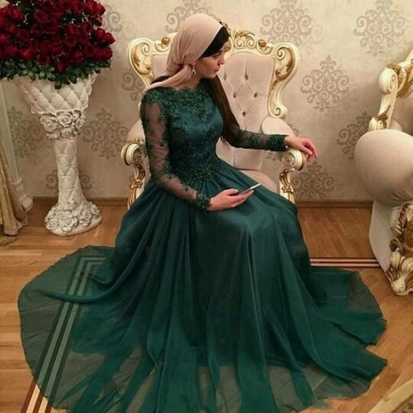 Hunter Green Muslim Evening Dresses With Long Sleeves Lace Applique Arabic Prom Gowns Long Chiffon Formal Party Dresses Custom Made