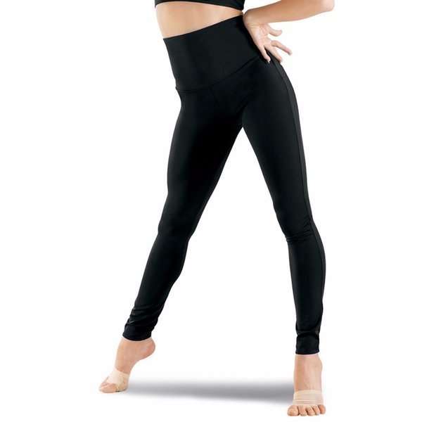 Womens Plus Size High Waisted Nylon Lycra Spandex Dance Waistband Leggings Tights
