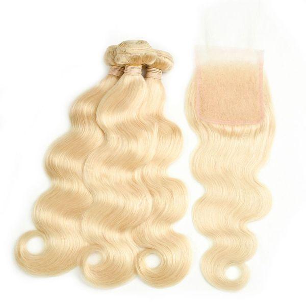 LIEBE Körperwelle 3 Bundles Mit Verschluss 613 Blonde Menschenhaar Haarverlängerung 10-26 Zoll Haar Nicht RemyKing Rose Queen Body Wave 613