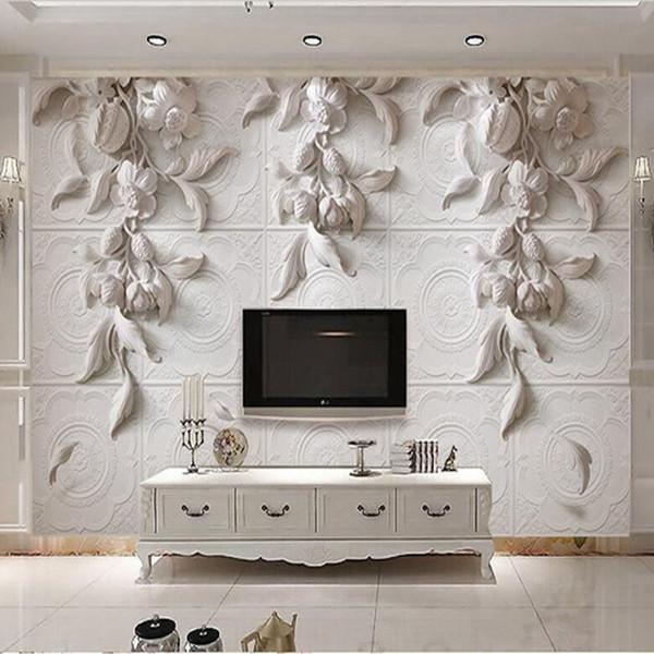 Personnalisé toute taille 3d Photo Papier Peint Murale Mur Autocollant 3d Stéréo Blanc Sculpture Européenne Orchid Hôtel TV Fond Mur Décor Papier Peint