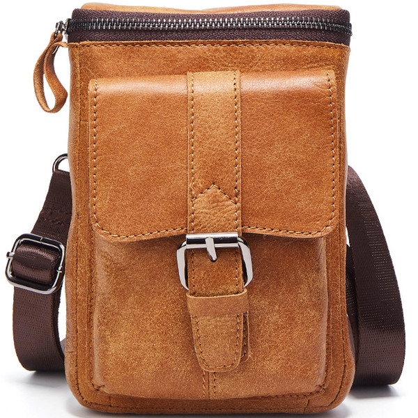Male Genuine Leather Cell Phone Holster Waist Bag Small Shoulder Bags  Casual Daily Carry-On 3f01fad5696eb