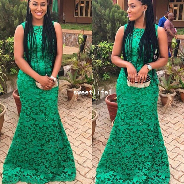 Nigeria Style 2019 Green Lace Evening Dresses Full Lace Mermaid Zipper Back Formal Occasion Prom Dresses Aso Ebi Style Custom Made