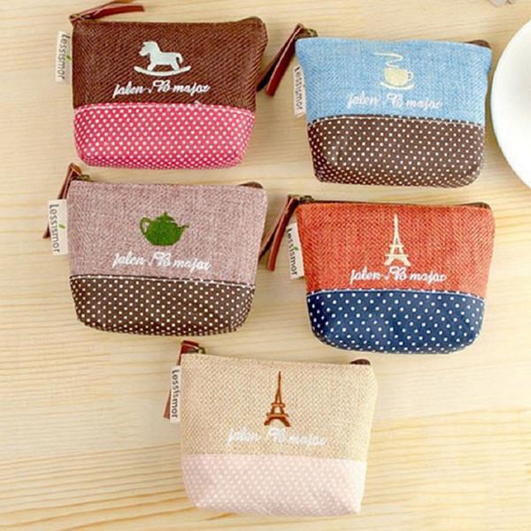 cute mini portable folding non-woven fabrics Coin bag Cotton linen Small object Key student Girl student organizer Embroidery