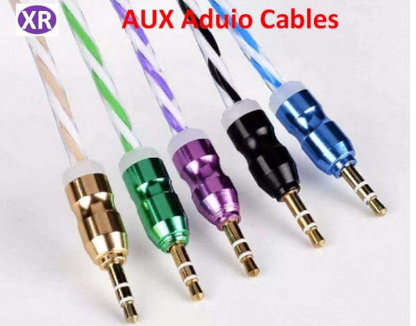 High-Grade Rainbow Aluminum Alloy AUX car Audio Cable 3.5mm Car Speaker Male to Male Audio Cable Mix Color 1meters NO03