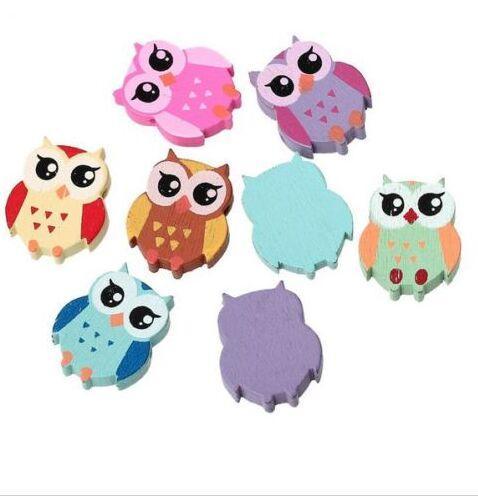 200 pçs / lote Mixed Wood Owl espaçador Beads Jewerly Acessórios 21x18mm para DIY Fazendo
