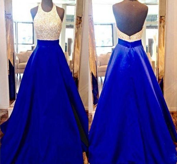 Robes de bal royal bleu bal robe de bal 2018 robes sexy de bijou longues robes de soirée avec corsage perlé scintillant pour les ados à partir de