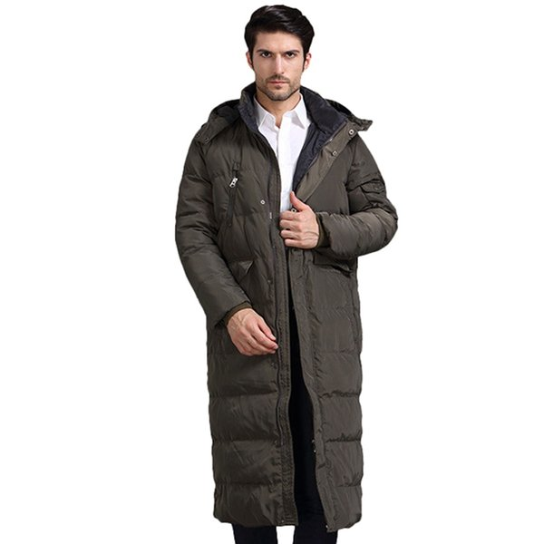 Winter Men Down Jackets Thick Warm X-Long White Duck Down Jackets With Hood Casual Outwear Brand Jacket Men casaco masculino