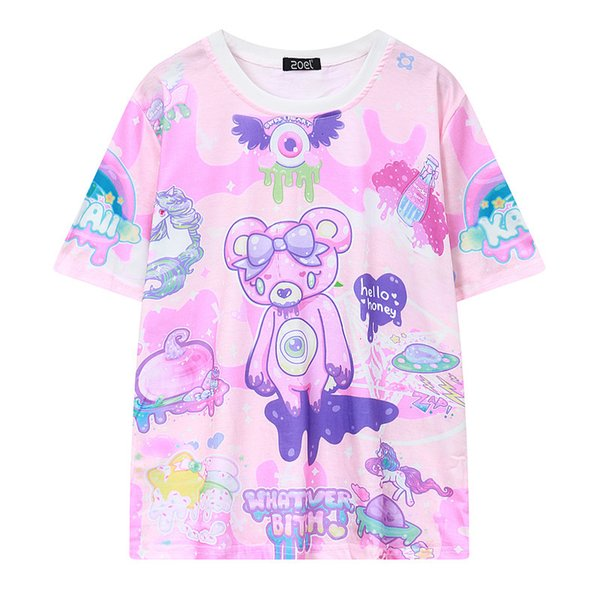 Pastel Goth Cute Pink T Shirt Bear Monsters Whatever Bitch Graffiti Funny Casual T-shirt Women Fashion Novelty Short Sleeve Tee Y1891307