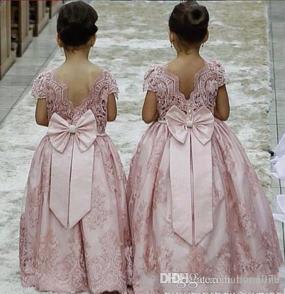 Blush Pink Ball Gown Flower Girl Dresses for Wedding Jewel Neck Ruffles Beading Floor Length 2018 Long Child Birthday Party Communion Dress2