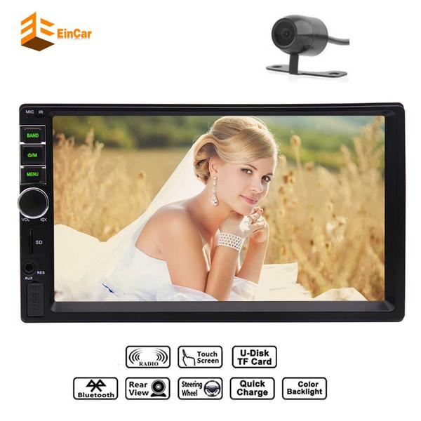 EinCar 7'' Double 2 Din Car headunit Stereo MP5 MP3 Player FM Radio In center console Bluetooth Multimedia Receiver USB TF AV Steering