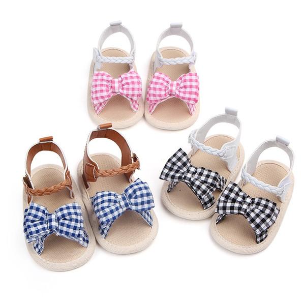 Sandals for Girls Baby Shoes Newborn Summer Cotton Cloth Lattice Cute Baby Girl Sandals Fashion Plaid Princess