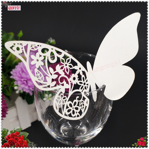 100pcs 9*11cm Laser Cut Butterfly Wine Glass Card Name Place Cards Wedding Decoration Birthday Party Bridal Favors Supplies 6Z
