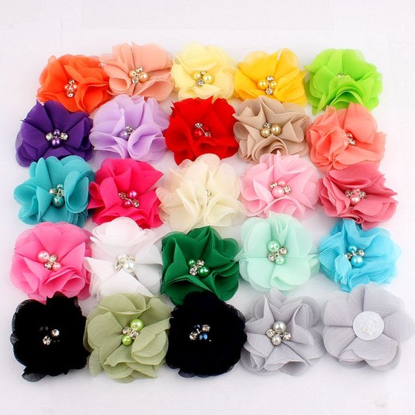 """10PCS 2"""" 35 Colors Cute Chic Chiffon Flowers With Rhinestone Pearl Fabric Hair Flower With Clips For Girls Hair Accessories"""