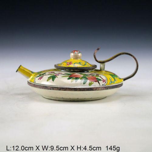 china Oriental Vintage Handwork Cloisonne Painting Flower Teapot