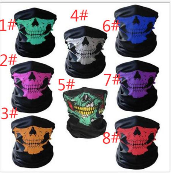 best selling unisex Halloween Cosplay Bicycle Ski Skull Half Face Mask Ghost Scarf Bandana Neck Warmer Party headband Magic Turban balaclava TO462