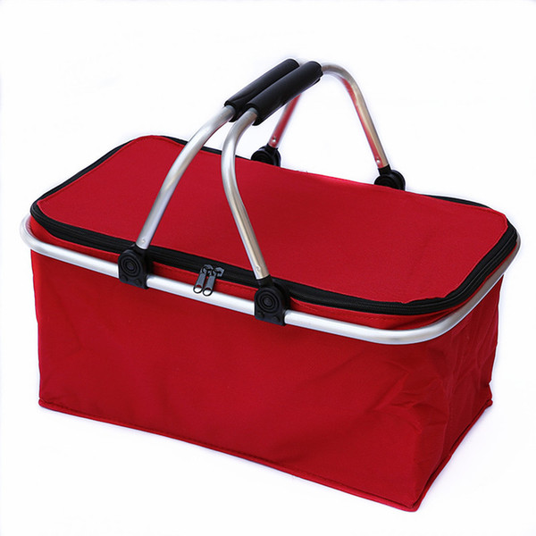 top popular Outdoor Camping Folding Cooler Insulated Picnic Baskets 600D Oxford  Aluminum Frame Handles Foldable Shopping storage wild Basket 2021
