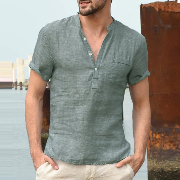 INCERUN Summer 3XL Manches Courtes Henley Hommes Casual Shirts Tops Sexy Col En V Bouton Lâche Casual Chemises Tee Solidaire Bas Tops Jogger