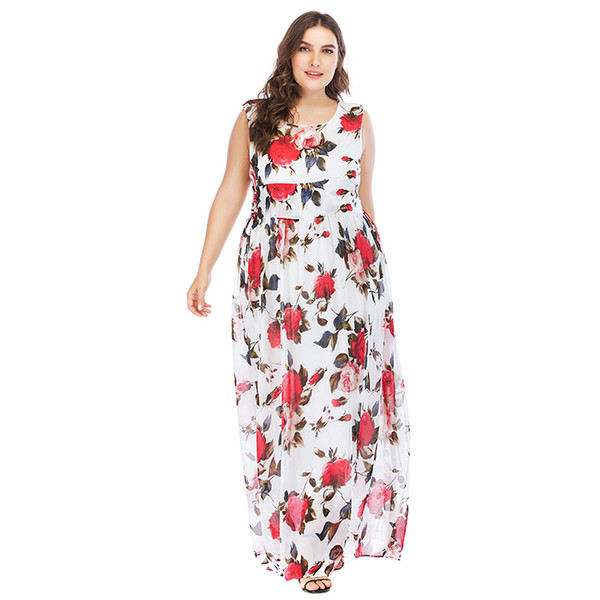 2018 New Sexy Women Plus Size Dresses 5XL Floral Print Sleeveless Summer Dress O-Neck High Waist Elegant Maxi Long Dress White
