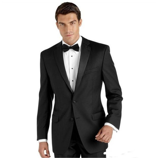 Custom black men's suit two-piece suit (coat + pants) men's two buckle shawl collar suit wedding groom dress men's business dress