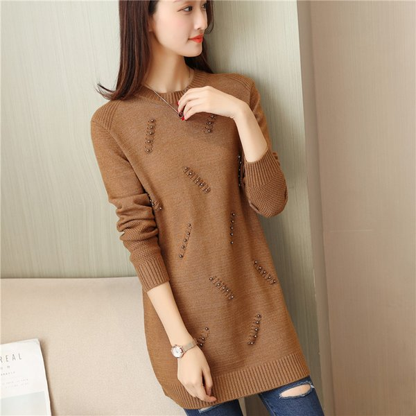48 qiu dong Cultivate morality in the new long nail bead knitting round collar pullovers F2063