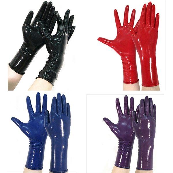 unisex classico Latex Gothic Sexy Lingerie Women Short Crimping Gloves Crimping Side Fetish Wrist No Fingers Female