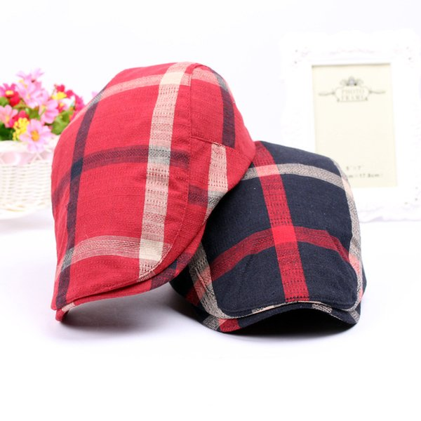 4 Colors Retro Plaid Berets Snapbacks Cotton Casquette Baseball Cap Designer Hat Dad Hat Bucket Fitted Hat Brand Hats