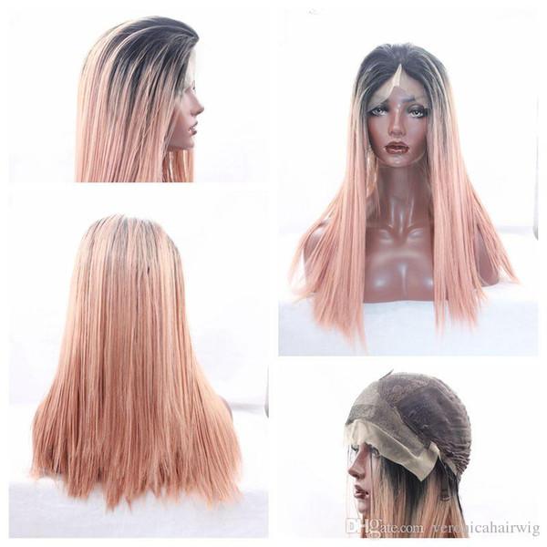 Cosplay Ombre naranja pelucas largas rectas sedosas para mujeres negras Pelucas sintéticas sin cola resistentes al calor sin cola del cordón con el pelo del bebé