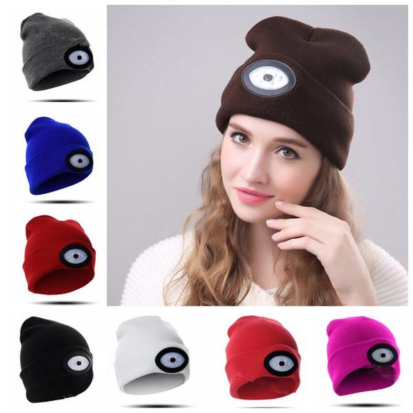 6 LED Beanies Knit Hat Rechargeable Flashlight Cap Climbing Fishing Camping Cap Women Men Winter Warm Lighted Hat KKA5924