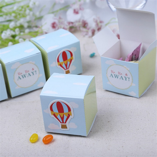 """100pcs """"Up, Up and Away!"""" Hot Air Balloon Birthday Boy Baby Shower Favors boxes baby shower souvenir wedding gifts for guests"""