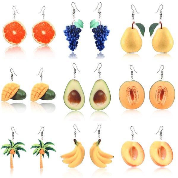 Fruit earrings  Dangle Orange Drop Earrings for women girl Acrylic Peach Earring Grape coconut tree Mango Cantaloupe Jewelry