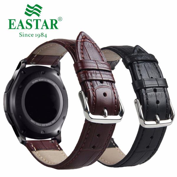 Cinturino in vera pelle nera marrone per Samsung Gear S3 Cinturino in pelle nera per ingranaggio S3 cinturino classico 22 mm