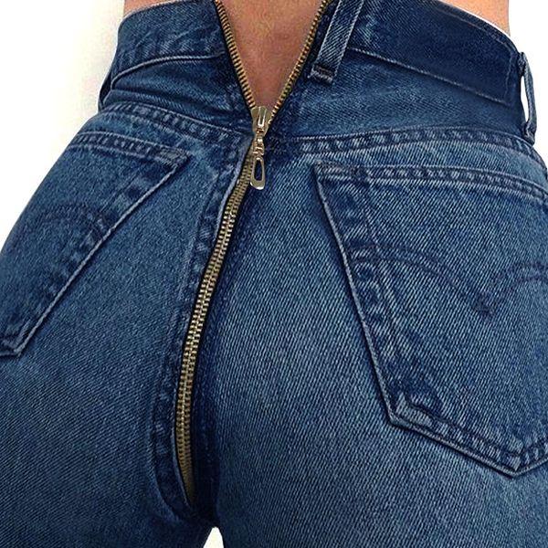 malewardrobe / Frühling Neue Frauen Zurück Reißverschluss Design Jeans Denim Blue Pencil Jeans Sexy Hohe Taille Lange Hosen Dünne Dünne Tragen Hosen