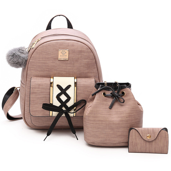 Women Fashion 4pcs Set Shoulder Bag Backpack PU Leather Backpack for Teenage Girls Female School with Shoulder Purse