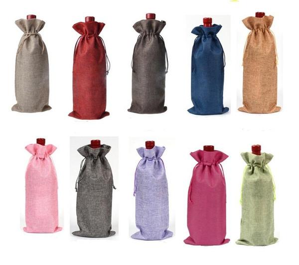 top popular 16 * 36cm Linen Drawstring wine red Bags wine bottle packaging jute red wine pouches custom logo. 2019