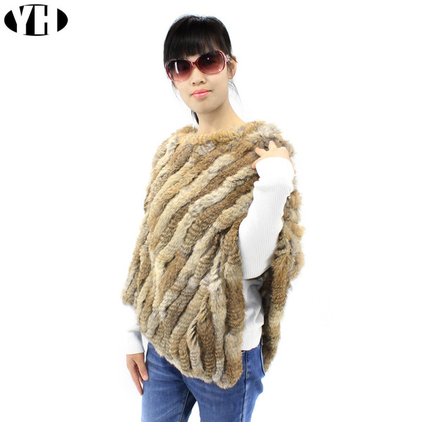 2018 Lady Genuine 100% Real Knitted Rabbit Fur Poncho Wrap scarves women natural rabbit fur Shawl triangle Cape S18101904