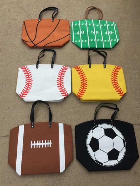 2018 new baseball football design Tote hand bag Canvas Casual Bag sports Beach Shoulder Bag 17*23*7.8inch