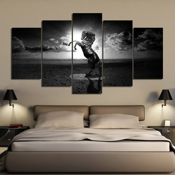 5 Pcs Black And White Fariy Horse Posters And Prints Home Decor Wall Art Picture Canvas Painting Cuadros Decocation No Frame