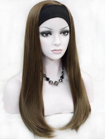 Half Wig 3//4 Wigs Synthetic Hair Chocolate Brown Headband Curly Wigs Women Wigs