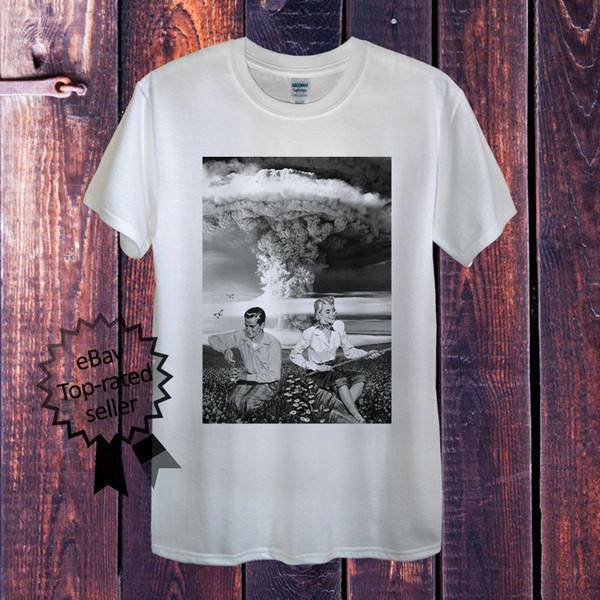 Mens or Womens Fashion Nuclear Explosion S-XXXL White Cotton T-shirt Tshirts Tee