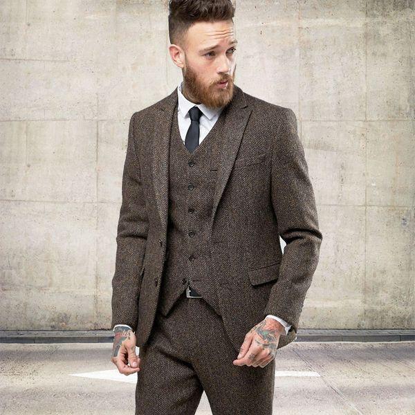 Custom Tweed Wool Men Suits Winter Formal Skinny Wedding Tuxedos Gentle Modern Blazer 3 Piece Men Suits(Jacket +Pants+Vest)