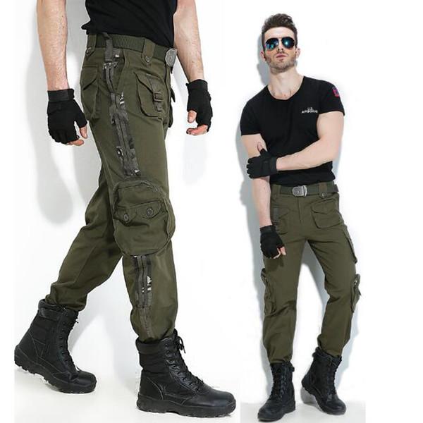 Pantalones de carga de algodón puro Multi-Pocket hombres de moda los hombres de alta calidad más el tamaño de los pantalones del ejército verde overoles