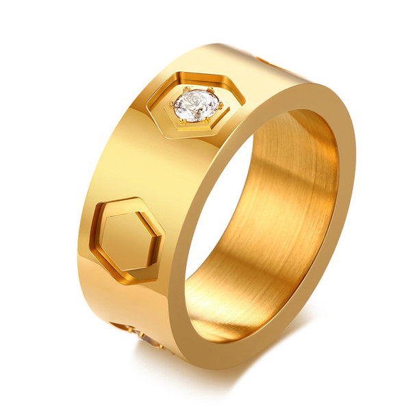 Unisex Cluster Mens Engagement Rings Hexagon Pattern Stainless Steel Cubic Zirconia Rings For Women Sporty Football Male Band Jewelry
